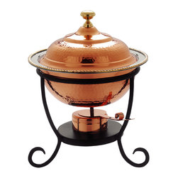 "12"" x 15"" Round Décor Copper over S/S Chafing Dish, 3 Qt. - For trend setting serve ware worthy of the finest table look no further than this elegant chafing dish. The hand-hammered bright copper finish and black iron stand elevate your gourmet fare to a new level. The 3 Qt. stainless steel food pan is held over a temperature-moderating water pan. The adjustable gel-fuel burner keep everything at the ideal temperature without drying out.   Oven- and dishwasher safe stainless steel food pan. All other parts wipe clean. Adjustable fuel holder takes standard ""Sterno"" type gel fuel canisters (not included)."