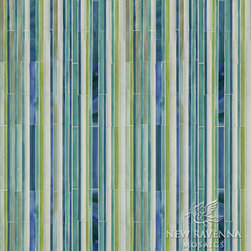 Random Stripes Jewel Glass Mosaic - Random Stripes, a handmade jewel glass mosaic, is shown in glass Moonstone, Peridot, Peacock Topaz and Turquoise.