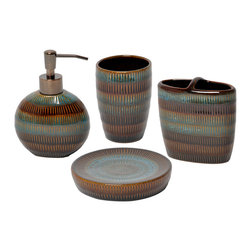 None - Moroccan Stripe 4-piece Bath Accessory Set - The Moroccan stripe 4-piece bath accessory set is an exotic addition to any bathroom. Made of ceramic, this set features a textured high-gloss multicolored finish.