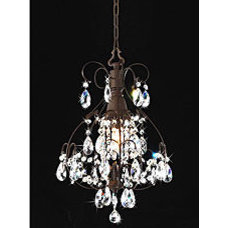 Brushed Oak 1-light Teardrop Crystal Chandelier | Overstock.com