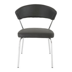 Eurostyle - Draco Side Chair (Set of 4) - Black/Chrome - Leatherette over foam seat and back