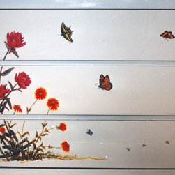 Armoire Decorative Painting - Close-up of bottom section of amoire, cabinet showing butterflies and wild desert flowers.