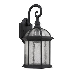 Chloe Lighting - Havana 1 Light Black Outdoor Wall Sconce - Aluminum, glass & electrical components.. Hardwired. Outdoor setting. Overall: 9.63 in. L x 9.88 in. W x 19.25 in. H (5.28 lbs.)Prepare for instant glamor. This fixture creates voluminous accent lighting and awe inspiring ambiance. Marry this design with your modern streamlined outdoor furniture for added luxury or ignite an outdoor veranda instantly with allure.