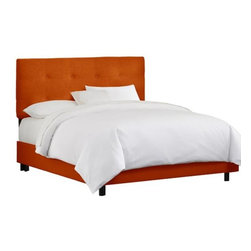 """Home Decorators Collection - Custom Hadley Upholstered Bed - Beautifully crafted and elegantly finished, our custom-upholstered Hadley Upholstered Bed has a straight headboard finished with button tufting and a soft, plush appearance. The headboard is upholstered in the same fabric as the rails and footboard. Choose from our beautiful selection of top-quality fabric to personalize the look of your bed. Includes button tufting. Fits standard high-profile 9"""" box spring. Steel bed frame. Includes hardware and instructions. Assembled to order in the USA and delivered in 4-6 weeks. Spot clean only."""