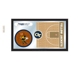"Holland Bar Stool - Holland Bar Stool Georgia Tech Basketball Mirror - Georgia Tech Basketball Mirror belongs to College Collection by Holland Bar Stool The perfect way to show your school pride, our basketball Mirror displays your school's symbols with a style that fits any setting.  With it's simple but elegant design, colors burst through the 1/8"" thick glass and are highlighted by the mirrored accents.  Framed with a black, 1 1/4 wrapped wood frame with saw tooth hangers, this 15""(H) x 26""(W) mirror is ideal for your office, garage, or any room of the house.  Whether purchasing as a gift for a recent grad, sports superfan, or for yourself, you can take satisfaction knowing you're buying a mirror that is proudly Made in the USA by Holland Bar Stool Company, Holland, MI.   Mirror (1)"