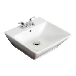 American Imaginations - 18.5-in. W x 19-in. D Above Counter Rectangle Vessel - It features a rectangle shape. This vessel is designed to be installed as an above counter vessel. It is constructed with ceramic. It is designed for a 4-in. o.c. faucet. The top features a 0.75-in. profile thickness. This vessel comes with a enamel glaze finish in White color. Above counter white ceramic rectangle vessel This Vessel features White hardware. Double fired and glazed for durability and stain resistance. Quality control approved in Canada and re-inspected prior to shipping your order. Faucet and accessories not included.