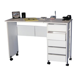 Venture Horizon - Hideaway Drop-Leaf Mobile Desk & Workstation - Finish: WhiteFolds for storage. Casters add mobility. Large work surface. 5 Handy drawers. Solid, sturdy, durable and easy to clean. Constructed from durable, stain resistant and laminated wood composites that includes MDF. Pictured in White finish for assembled table. Pictured in Oak finish for folded table. Made in the USA. Assembly required. Weight: 55 lbs.. Table size:. Folded size: 17 in. W x 16 in. D x 29.5 in. H. Assembled size: 43 in. W x 16 in. D x 29.5 in. H. Drawers: 11.25 in. L x 13.25 in. W x 3 in. HWhether you want a sewing center, a handy organizer from which to pay bills or an extra desk for the home office our Mobile Work Center is right for the job. Four dual-track carpet casters will let you roll it anywhere...to work or out of sight. The five deep, roomy drawers provide storage for just about anything you have in the way of office supplies or crafts. Constructed from durable melamine laminated particle board the Mobile Desks will offer a life time of reliable service.