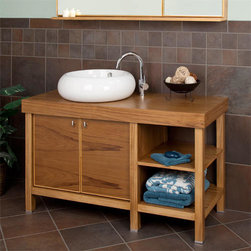 """48"""" Braemar Vanity with Vessel Sink - Thai Teak - Clean lines and a luxurious, large vessel sink combine to make this console vanity the ideal addition to your contemporary bathroom decor. It features ample functional storage space with two cabinet doors and two open shelves."""