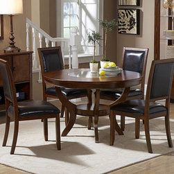 Homelegance - Homelegance Avalon 48 Inch Round Dining Table in Cherry - This clean-lined transitional casual dining takes its roots from the art deco era of the 1930's. The Avalon dining collection is both straight forward and dramatic. Excitement comes from its simple yet elegant rectangular leg table and two round table options  streamlined bowed fronts bunching china with tear drop drawer pulls and its matched veneer drawer front design. The dark brown bi-cast vinyl chair with style and durability makes a statement of its own. Constructed of maple veneers with select hardwoods in a contemporary low sheen cherry finish.