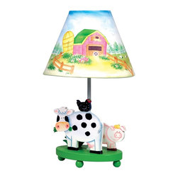 Guidecraft - Guidecraft Little Farm House Lamp - Kids will delight in the vivid colors and playful farm animals, barn and sunflower fields that adorn this versatile hand-painted and hand-carved collection. 40 watt bulb required, not included. Adult assembly required. Ages 3+.