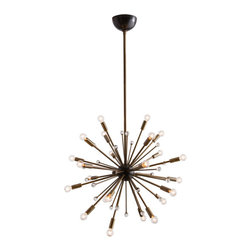 "Arteriors - Arteriors Home - Imogene Small Chandelier - 89976 - Inspired by a trip to Paris, this 24 light modern starburst design in vintage brass is the perfect choice if you want drama, lots of light and a mid-century look. Also available in a larger size (89979). Shown with small clear globe bulbs. Features: Imogene Collection Small Chandelier24 LightsVintage BrassCrystalBlack Iron Some Assembly Required. Dimensions: Adj. H: 37"" 49"" x 26"" Dia"