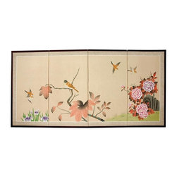 Oriental Unlimted - Birds on The Tree Silk Screen - Screens may vary slightly in color. Hand painted ink and watercolor silk screen. Song dynasty (10th century China) brush art style. Crafted from silk covered paper, glued over four side-by-side lacquered wood frames. Matted with a fine Chinese silk brocade border. Comes with lacquered brass geometric hangers for easy mounting. Can be displayed as a privacy screen, partly folded to stand upright on a table or floor. Note that no two renderings are exactly the same. Subtle, beautiful hand painted wall art for a fraction of the cost of a comparable print. 36 in. W x 0.63 in. D x 72 in. H