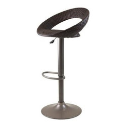 Winsome Bali Adjustable Airlift Bar Stool with Woven Seat - Please note: This item is not intended for commercial use. Warranty applies to residential use only.