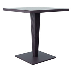 Compamia - 27.5in. Riva Werzalit Top Square Dining Table, Brown - 27.5 in.  Riva Werzalit Top Square Dining Table, Brown