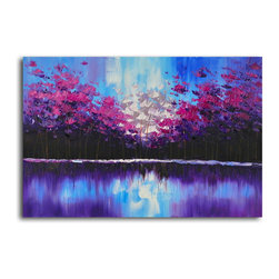 """Omax Decor - Flock in the Forest Hand painted oil canvas - Overall size: 24"""" x 36"""". Enjoy a 100% Hand Painted Wall Art made with oil paints on canvas stretched over a 1"""" thick wooden frame. The painting is professionally hand-stretched and ready to hang out of the box. With each purchase of our art you receive a one of a kind piece due to the handcrafted nature of the product."""