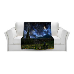 DiaNoche Designs - Throw Blanket Fleece - Starry Night - Original Artwork printed to an ultra soft fleece Blanket for a unique look and feel of your living room couch or bedroom space.  DiaNoche Designs uses images from artists all over the world to create Illuminated art, Canvas Art, Sheets, Pillows, Duvets, Blankets and many other items that you can print to.  Every purchase supports an artist!