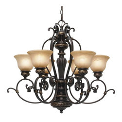 Golden Lighting - Jefferson 6-Light Chandelier - Bulbs not included. Requires six incandescent type A 60 watt medium base bulbs. Six E27 sockets. Total wattage: 360. Electric wire gauge: 20288# SPT-1 +340cm 18# 105 degree C. Traditional style. Sculpted arms. Decorative brace and intricate feel. Thick antique marbled glass shade. UL listed for dry location. Made from metal and poly resin. Etruscan dark bronze color. Wire length: 10 ft.. Chain length: 6 ft.. Glass shade: 7 in. Dia. x 4.5 in. H. Canopy: 6.38 in. Dia.. Overall: 28.75 in. W x 27 in. H. Warranty. Assembly Instructions