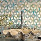 Fiona Jewel Glass and Mirror Mosaic - Fiona, jewel glass and mirror waterjet mosaic.