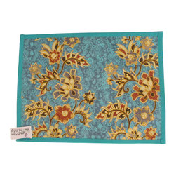 Garden Candy - Blue Cotton Placemat - Garden Candy's Sarong Patterned Placemat is reversible to accommodate that finishing touch to your table setting. It perfectly compliments our Sarong Patterned Seat Cushion and Rectangular Pillow.