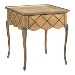 French Heritage - Lyon Square End Table - You want your favorite pieces of furniture to look perfect, but realistically, side tables are usually piled high with stuff. So opt for one that has decorative detailing all the way around it like this beautiful square end table.