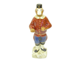 None - Porcelain Monkey Soldier Figurine - Attract attention with this charming porcelain figurine in the form of a brave little sentinel monkey. Great for indoor as well as outdoor display, this offbeat piece will add a light touch to your living space and works with any theme.