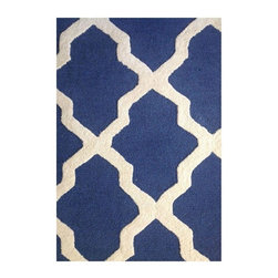 Used Contemporary Blue Area Rug - The vibrancy of this blue and white rug will really bring your living room or bedroom to life! It features a contemporary lattice print and measures 8 feet by 8 feet. It's in excellent condition and only one year old.
