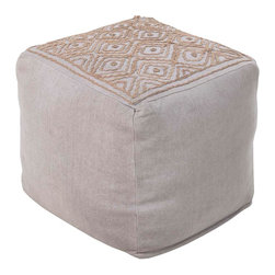POUF-207 Atlas Pouf - This square pouf offers a fresh design and bright colors that will add sophistication and visual interest to any room.  Made in India of mostly Linen, this product is durable and priced right.