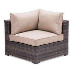 ZUO - Bocagrande Corner Chair - Circle the fire pit with the Bocagrande series. Gradients of brown weave around overstuffed cushions for the perfect marshallow roasting spot. Features corner and middle chairs, an ottoman, and a coffee table. Pieces sold separately.