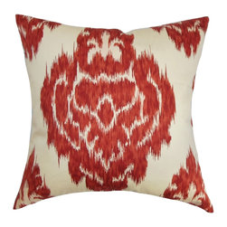 "The Pillow Collection - Ajayi Ikat Pillow Red 18"" x 18"" - This ikat throw pillow will surely fill your room with a traditional appeal. This accent pillow is adorned with a distinctive ikat pattern in a fiery red hue. The bold print is set against a white fabric adding a scene-stealing element to the decor pillow. Made from 100% plush and soft cotton material, this square pillow is designed to provide comfort and style to your home. Update your interiors by layering this 18"" pillow with solids and other patterns. Hidden zipper closure for easy cover removal.  Knife edge finish on all four sides.  Reversible pillow with the same fabric on the back side.  Spot cleaning suggested."