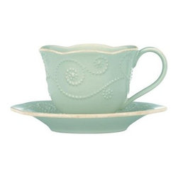 Lenox French Perle Blue Cup and Saucer - Set of 4 - If it's tea time, then it's Lenox French Perle Blue Cup and Saucer - Set of 4. These cups and saucers are ornately crafted of blue stoneware and embellished with fine details. Great for entertaining or everyday use, and microwave and dishwasher safe.About Lenox CorporationLenox Corporation is an industry leader in premium tabletops, giftware, and collectibles. The company markets its products under the Lenox, Dansk and Gorham brands, propelled by a shared commitment to quality and design that makes the brands among the best known and respected in the industry. Collectively, the three brands share 340 years of tabletop and giftware expertise.