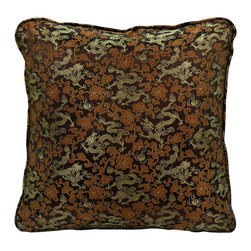 China Furniture and Arts - Silk Pillow - Dragon Motif, Brown - Embroidered with traditional Chinese dragon pattern with brown background, this pillow is brocaded with luxurious golden silk thread. Mix or arrange decoratively on a sofa, bed, or chaise. Zipper cover removes for dry cleaning.