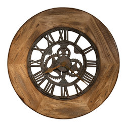 "Howard Miller - Howard Miller Oversize Georgian Wall Clock, Wood Frame - With technology nowadays, it seems like ""smaller is better"" is all the rage. Not so with this clock. With a wooden frame, a rust finished metal antique-like interior and sizable stature, it's a statement piece, one that will not cease to impress."