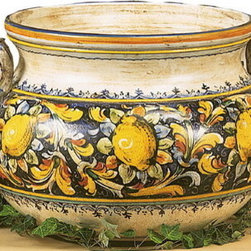 "Artistica - Hand Made in Italy - Majolica: Extra Large Cachepot ""Majolica: Limoni"" - Majolica Collection:"