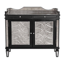 Salvatore Antiqued Mirrored Bar Cabinet