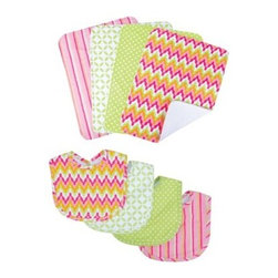 Trend Lab Baby Savannah 8 pc. Bib and Burp Cloth Set - Messes are inevitable and even one of the many joys of parenthood, but you can keep those spills and dribbles to a minimum with the Trend Lab Baby Savannah 8 pc. Bib and Burp Cloth Set. The handy set includes four bibs – all with velcro closures – and four burp cloths, each with fun, modern prints on the front and terry on the back.About Trend LabFormed in 2001 in Minnesota, Trend Lab is a privately held company proudly owned by women. Rapid growth in the past five years has put Trend Lab products on the shelves of major retailers, and the company continues to develop thoroughly tested, high-quality baby and children's bedding, decor, and other items. Trend Lab continues to inspire and provide its customers with stylish products for little ones. From bedding to cribs and everything in between, Trend Lab is the right choice for your children.