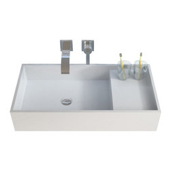ADM - ADM Solid Surface Stone Resin Wall Hung Sink, Glossy White - DW-204