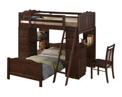 """CBEstherLoftBed - Esther Merlot Finish Wood Twin Over Twin Loft Bed Set with Desk and Drawers - Esther Merlot finish wood twin over twin Loft bed set with desk and drawers. This set features a top Twin loft bed over a twin bed with a desk on one side and an open shelf and drawer set on the other side.. bed measures 77"""" x 80"""" x 68"""" H. Some assembly required."""