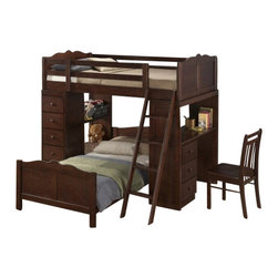 "CBEstherLoftBed - Esther Merlot Finish Wood Twin Over Twin Loft Bed Set with Desk and Drawers - Esther Merlot finish wood twin over twin Loft bed set with desk and drawers. This set features a top Twin loft bed over a twin bed with a desk on one side and an open shelf and drawer set on the other side.. bed measures 77"" x 80"" x 68"" H. Some assembly required."
