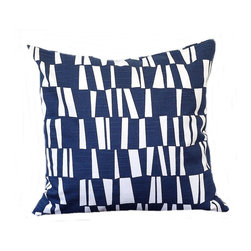 5 Surry Lane - Designer Navy Blue Sticks Geometric Contemporary Pillow Cover - Do not underestimate the importance of a great pillow.  Both classic and modern, this pillow boasts sophisticated style.  Reverses to solid.  Hidden zipper closure.  Made in the USA.  Down feather insert included.  Can ship together.