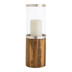 Arteriors - Grady Large Hurricane - Overscaled pillar holder made of stainless steel, clear glass and reclaimed teak wood is imposing yet casual. A steel plate holds a candle or cluster of items centered in the middle. Use a pair on a mid-century sideboard or stone mantle.