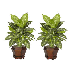 """Nearly Natural - Dieffenbachia with Wood Vase Silk Plant (Set of 2) - The sharp contrasts of the two-tone leaves will definitely draw the appreciative plant lover's eye from anywhere in a room. The bold leaves that make up these silk plants are """"large and in charge"""", and are coupled with an equally impressive planter. Easy to take care of and effortless to manage, this is one set of plants that you'll want to add to your collection. Arrives with two pieces. Colors: Variegated; Pot Size: W: 6 in, H: 5.75 in. Height: 20.5 in; Width: 14 in; Depth: 12 in."""