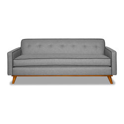 Apt2B - Clinton Sofa Mountain Grey, Grey/Coal - Style for days! This mid-century style sofa is great for a smaller space and will be the talk of all of your friends with a solid wood base and piping that pops.