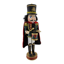 n/a - Decorative Wooden Soldier Nutcracker with Drum 18 In. - Add a decorative accent to your home for the holidays, or year round with this festive nutcracker. He wears a black hat and a velour cloak over his soldier uniform as he taps a cadence on his drum. Made of wood and hand painted, he stands 18 inches tall on a 4 inch diameter base. This piece makes a great gift for collectors, and it looks lovely on tables, mantels, or shelves.