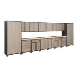 Newage Products - NewAge Products Pro Series Taupe 16-piece Cabinetry Set - The Pro Series 16-piece Set is a dream storage solution for any workshop or garage. For a clean,unique,and fresh new look the Pro Series delivers. Relax and unwind while working on a project using the Maple block work surface.