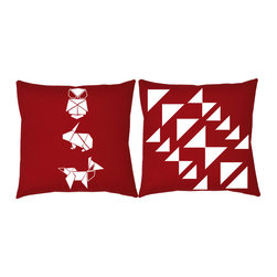 RoomCraft - RoomCraft 2pc Origami Pillow Covers/Cushion Set, Red, 16x16 Inches, Origami Anim - FEATURES: