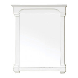 """Bellaterra Home - Rectangular Solid Wood Cream White Frame Mirror - Solid wood construction frame with high quality mirror to withstand bathroom humidity. Frame Dimensions: 36""""W X 41.5""""H X 2.4""""D; Finish: Cream White; Material: Birch ; Beveled: No; Shape: Rectangular; Weight: 34.2; Included: Brackets, Ready to Hang"""