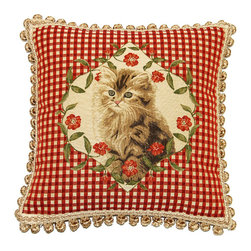 None - Corona Decor French Woven Kitten Feather and Down Filled  Jacquard Decorative Pi - The French heavy weave of this Jacquard pillow features a decorative Kitten design with fringe and down insert. In gorgeous colors,this pillow is designed and handcrafted in the USA.