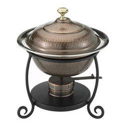 Old Dutch International - Round Antique Copper Chafing Dish - For extraordinary soirees, serve your specialty in this impressive chafing dish. Elegant copper on the outside, and all the features to keep what's inside moist, warm and tasty. Feast on!