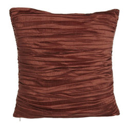 """Austin Horn Collection - Austin Horn Collection Pleated Silk Pillow, 18""""Sq. - Soft chenille L'Aquila bedding in rust and gold is a jacquard weave featuring a grandly scaled pattern. Tassel fringe detail and pleated silk accessories in rust complete the ensemble. From Austin Horn Collection. Duvet covers have tassel fringe on th..."""