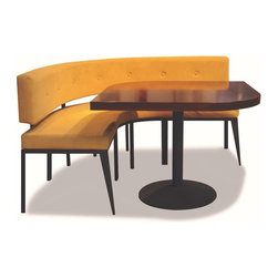 Yi Booth with Trattoria Table - Unconventional booth seating exclusively from Costantini. Metal frame and high-resiliency foam seat shown in black matte finish with gold faux suede. Available in any fabric/finish or COM. Available in any size.